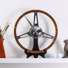 classic car walnut steering wheel desk clock by vyconic