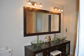 White Framed Mirrors For Bathrooms White Wall Paint Mirror With Wooden Frame Wall Lamps Dark Brown