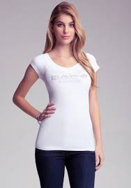 bebe las vegas v neck logo tee in white lyst