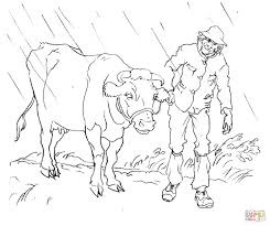 cow with a man coloring page free printable coloring pages