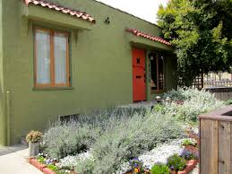 silver lake bungalow exterior orange door and drought tolerant