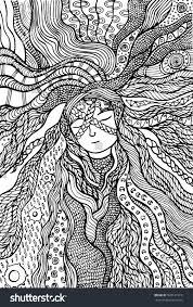 fantasy hippie hair coloring page stock vector 599131916