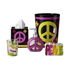 Purple Bathroom Accessories by Girly Peace Sign U0027 Bath Accessory 16 Piece Set Cats Home And Signs