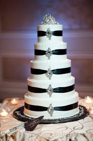 white 5 tier wedding cake with black ribbon weddings cakes