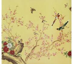 Wallpaper With Birds Gorgeous Flowers U0026 Birds Hand Made Oriental Style Yulan Wall Paper