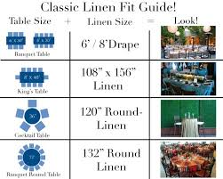 Banquet Table Size by Dining Classic Cheat Sheet Chart Of Some Our Most Popular Table