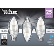 Led Light Bulb Dimmable by Great Value Led Light Bulbs 4w 25w Equivalent 4 Way Decorative