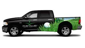 partial truck wrap for a golf course vehicle signs mobile