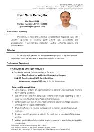 Sample Er Nurse Resume by Ryan Sarte Demegillo Cv Ambulance Emergency Nurse Medical Surgic U2026