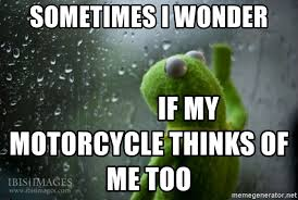 Rainy Day Meme - sometimes i wonder if my motorcycle thinks of me too kermit rainy