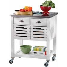 robbin wood kitchen cart with stainless steel top walmart com