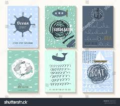 set vintage nautical cards stock vector 294915167