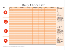 ms excel daily chore list template document templates