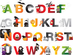 a to z of spooky horror childrens alphabet royalty free cliparts