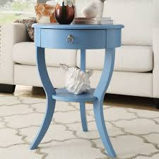 Blue Accent Table Round Accent Table With Drawer Starrkingschool