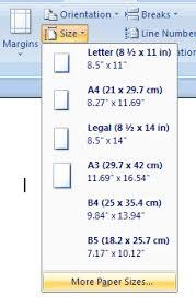 sizes options set custom page size options page style formatting microsoft