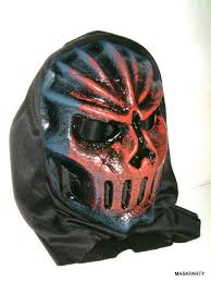warrior halloween mask with black hood