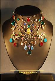 coloured crystal necklace images Reduced multi coloured 9 drop wire crystal necklace jewelry by jpg
