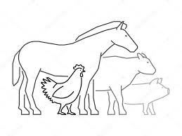 black outline logo for farmers market farm animals logo u2014 stock
