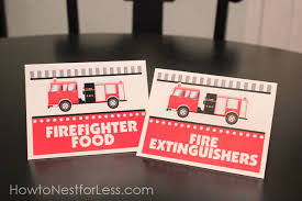 firetruck themed birthday party with free printables food cards