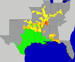 us map with arkansas alligator gar range map