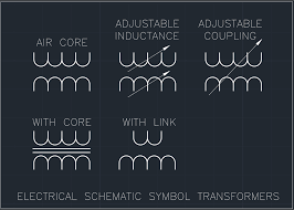 electrical schematic symbol transformers free cad block and