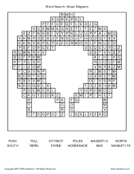 word search about magnets 2nd 3rd grade worksheet lesson planet