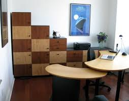 office unique wooden table top with black legs and gray wheeled