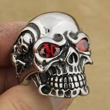 steel skull rings images Linsion huge heavy 316l stainless steel red cz eyes titan skull jpg