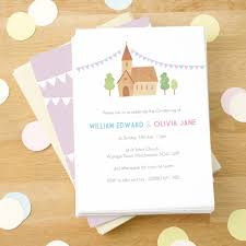 Christening Invitations Cards Personalised Twin U0027s Christening Invitations By Made By Ellis