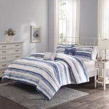 Blue And Gray Bedding Better Homes And Gardens Blue Brushstroke Stripe 5 Piece Bedding