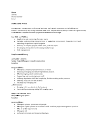 Resume Sample Program Manager by Free Construction Project Manager Resume Template Sample Ms Word