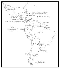 map of and south america black and white how many central and south american countries can you identify on