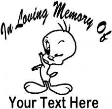 memory tweety bird car truck window decal sticker rad