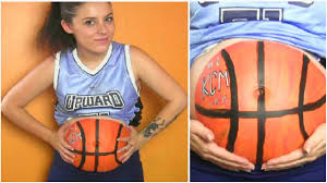diy halloween costume basketball player body paint pregnancy