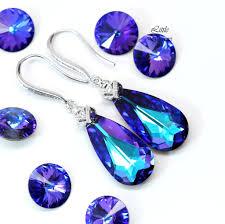 purple earrings swarovski purple earrings he 33 desirez jewelry