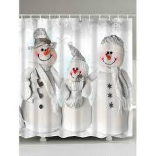 Discount Christmas Shower Curtains Winter Snowman Print Fabric Waterproof Bath Shower Curtain Grey