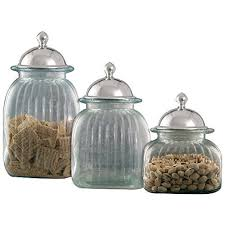 glass kitchen canister sets amazon com artland 3 glass canister set with