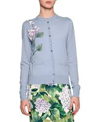 light blue cardigan sweater dolce gabbana embellished hydrangea cardigan sweater light blue
