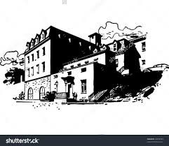 mansion clipart black and white rustic hotel retro clipart illustration stock vector 64259785