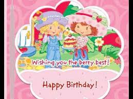strawberry shortcake happy birthday animated greeting card