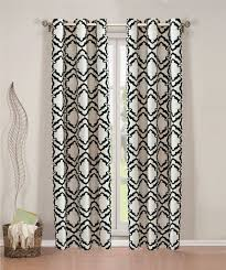 pair of allie faux linen with flocking window panels w grommets