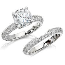 white gold wedding sets 14k white gold pave prong diamond bridal set nk10224we w l