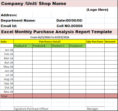 shop report template excellent monthly purchase analysis report template exle in