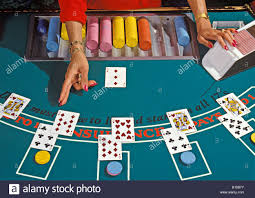 black jack 21 a blackjack 21 table in a casino stock photo royalty free image