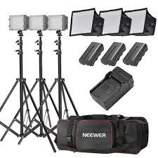 neewer 3x 160 led light kit dimmable ultra high power