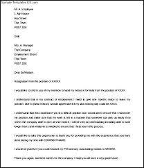 free notice period resignation letter example sample templates