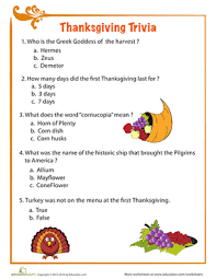thanksgiving facts worksheet education