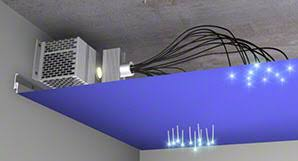 plafond chambre étoilé eclairage intégré au plafond tendu spots leds fibre optiques