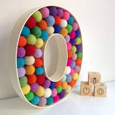 Pom Pom Crib Bedding by Handmade Freestanding Letter O In Fun Felt Ball Multi Colours